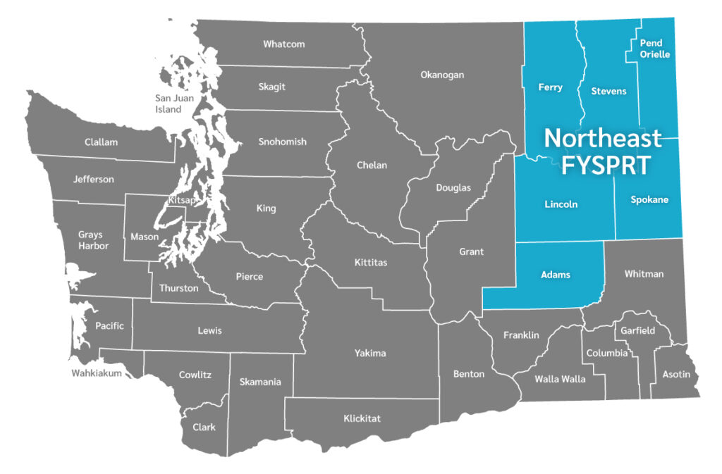 WA map with selected Northeast FYSPRT regions